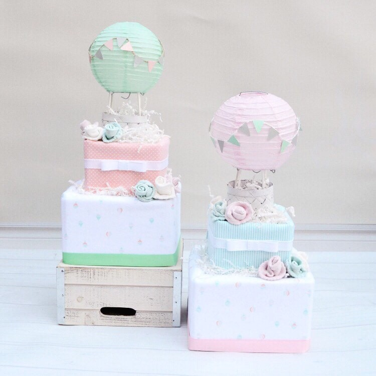 up and away shower diaper cake hot air balloon diaper cake. Black Bedroom Furniture Sets. Home Design Ideas
