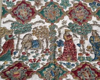 Vintage Tapestry Panel - Renaissance Medieval Garden - Queen Unicorn Forest