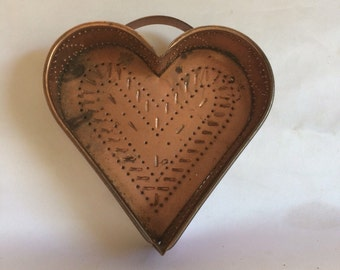 Punched Copper Heart Vintage Country Farmhouse Rustic Home Decor