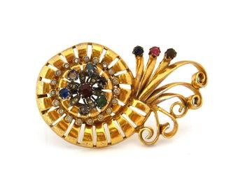 Nautilus Shell Rhinestone Dress Fur Clip | Huge 1940s Repair Repurpose Brooch | Vintage Destash Jewelry