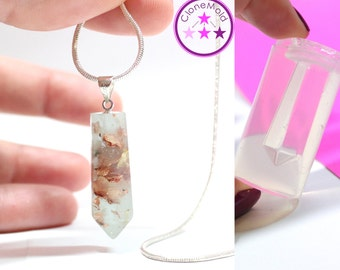Crystal Stone Mold Facetted Pendulum Pendant Silicone Rubber Mold