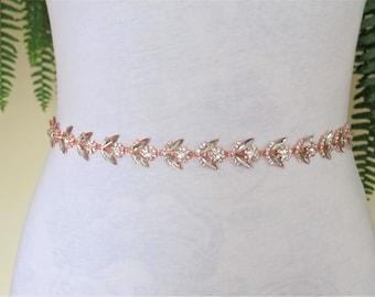 Rose Gold Crystal Rhinestone Bridal Sash,Wedding sash,Belts And Sashes,Bridal Accessories,Bridal Belt and sashes,Ribbon Sash,Style #38