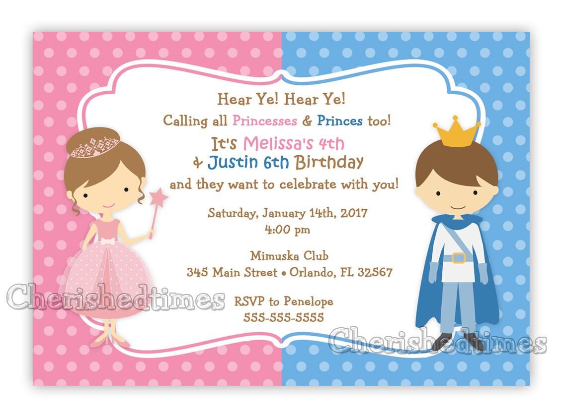 Princess And Prince Birthday Invitation Digital File from – Prince Birthday Invitation