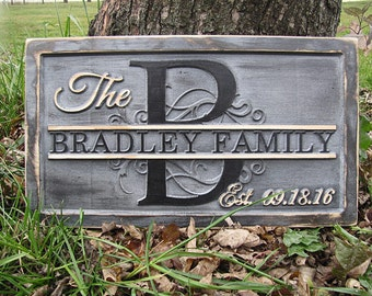 Personalized Family name sign Monogram Letter Personalized wedding gift 3D wood signs lovejoystore unique distressed grey gray rustic sign