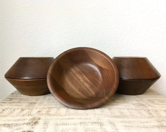 Mid Century Walnut Salad Bowls-Set of 6