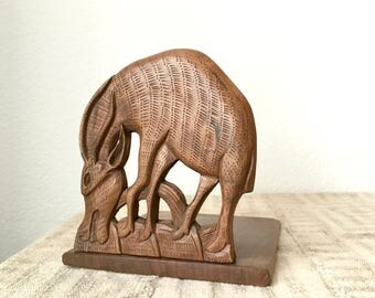 Vintage Hand Carved Wooden Antelope Bookend