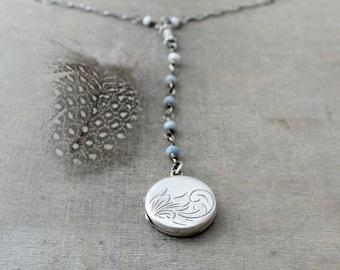 Opal Locket Necklace, Opal Y Necklace, October Birthstone Locket, Blue Opal Necklace, Opal Lariat Sterling Silver Locket, Silver Book Locket