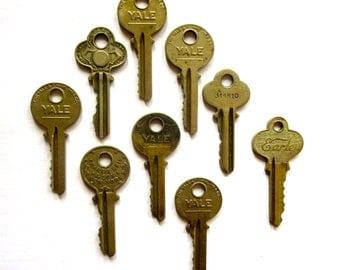 9 keys Key collection Vintage stamping keys Antique keys DIY Stamping keys House keys Old keys for stamping Blank keys Blank side A1 #42