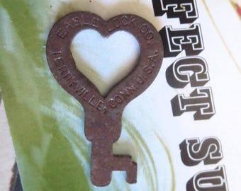 Antique heart key Vintage heart key Old heart key Small heart key Rusty heart key Primitive heart key Tiny heart key HK # 7