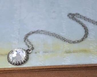 bridesmide necklace, sterling silver crystal necklace, VINTAGE SPARKLES vintage Swarovski crystal jeweled,