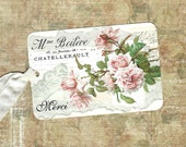 Tags, Roses, French Style, Gift Tags, Merci, Party Favors, Gift, Vintage Style