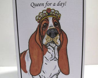 Queen for a day! Basset Hound  4 Greeting Cards