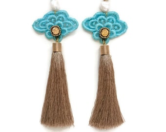 Womens Aqua Blue Lace Tassel Beaded Crystal Earrings with Freshwater Pearls and Gold Tassels - 'Follow me to the Sea' Lace Tassel Earrings