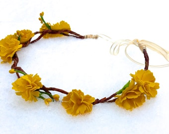 Yellow Flower Crown / Fairy Crown / Headband / Rustic Wedding / Renaissance / Festival
