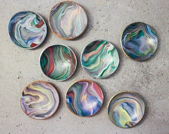 Galaxy colorful polymer clay marble bowl, ring & jewellery dish, home decoration