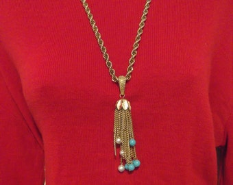 Heavy Gold Rope Necklace with Pearl and Turquoise Tassel Pendant