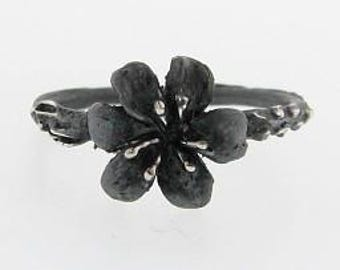 Silver Lily Ring, Blackened. Ring size 4 through 8. Black Silver Lily ring