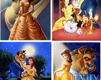 Lot Of 4 Beauty And The Beast Belle Fabric Panel Quilt Squares