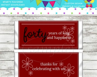 40th Anniversary Party Favors Hershey's Candy Bar Wrappers Instant Download DIY Printable