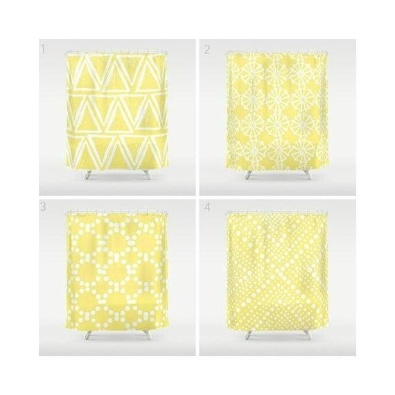 Lemon Yellow Shower Curtain - Geometric Shower Curtain - Modern Shower Curtain - Bath Decor - Triangle Shower Curtain - Yellow and White