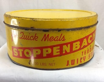 Vintage Stoppenbach's Tender Juicy Steaks Tin From The Stoppenbach Sausage Co.