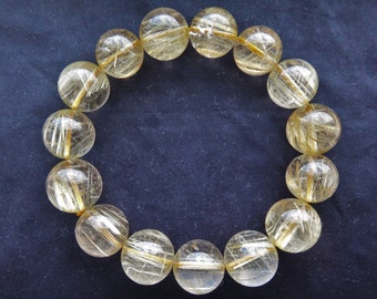 Natural Genuine Golden Gold Rutilated Quartz Round Bead Bracelet 15mm