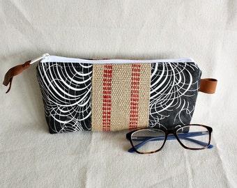 Pouch clutch zipper purse makeup bag wallet grey white with jute webbing trim- READY