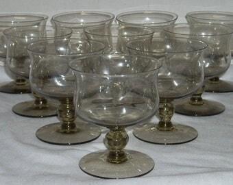 Mid Century Danish Modern Pinch Smoke Champagne / Sherbet Glasses Goblets x10