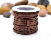 Brown  Faux Suede Cord, 3mm Flat Cord, 5 Meters,   Jewelry Cord