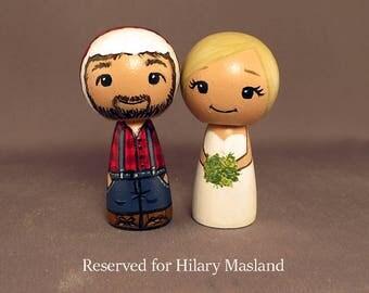 Reserved for Hilary Masland Lumberjack Wedding Cake Toppers kokeshi dolls