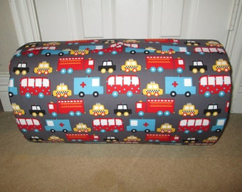 Monogrammed Childrens Pre School THICK COMFY Nap Mat Cars Trucks Ready Set Go w/Attached Red Dotted Minky Blanket and Pillow