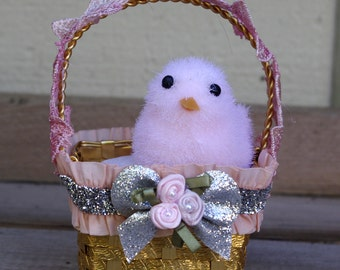 Easter Decoration Ornament Pink Chick in a Basket
