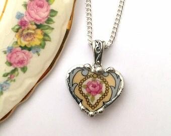Broken china jewelry -  petite heart pendant - pink rose -  broken china jewelry heart pendant necklace