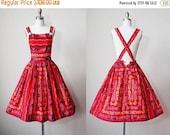 ON SALE 1950s Vintage Dress - 50s Suspender Skirt - Novelty Print Red Hearts Roses Full Skirt Jumper XS - Hoedown Honey Dress