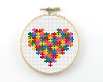 Puzzle heart cross stitch pattern, puzzle heart pattern, colorful heart pattern, valentine cross stitch, heart pdf pattern, color puzzle