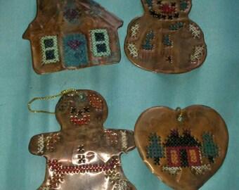4 Vintage Copper Creations Christmas Ornaments Handmade