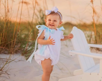 Tea Party White Swiss Like Raised Dot and Lace Baby Bubble Dot Romper Classic Traditional  Size 3 months to 2 years