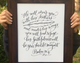 Psalm 91:4 - Bella Scriptura Collection from Paperglaze Calligraphy