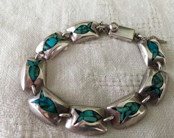 Mexico Signed TM-200, 925 Sterling Silver and Turquoise Inlaid FISH Bracelet Beautiful. Religion, Religious, Christian. Layaway