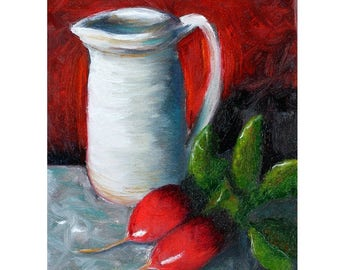 Still life painting, original still life oil, radish, pitcher, vegetable painting, pottery pitcher red, crock, red background, Helen Eaton