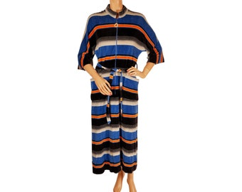 1970s Velour Striped Dress - Lounging Gown