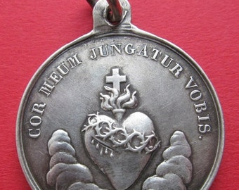 On Sale Virgin Mary Antique French Silver Religious Medal Sacred Heart Signed Duchesne   SS134