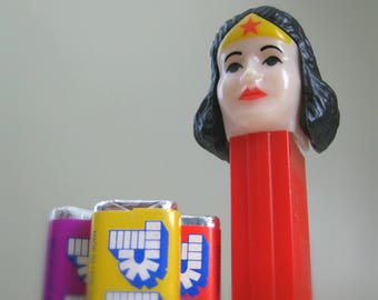 Vintage Wonder Woman PEZ Dispenser w/ Candy, 1980s DC Comics Wonder Woman Toy, Gal Gadot, Lynda Carter, Female Superhero Collectible For Her