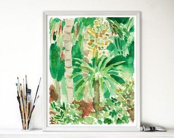 art print Enchanted garden, watercolor garden print, tropical art, modern art, garden watercolor, green garden, garden watercolor