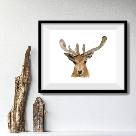 Deer Art Print, deer head watercolor print, woodland print, gift for men ,antler, fathers day, Christmas art, minimalist art, deer art