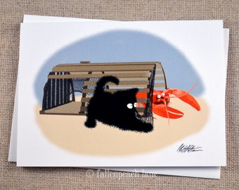 Black Cat Meets a Lobster -  Illustrated Blank Greeting Card