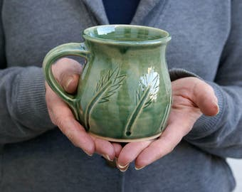 Two wheat patterned mugs - hand thrown stoneware glazed in forest green