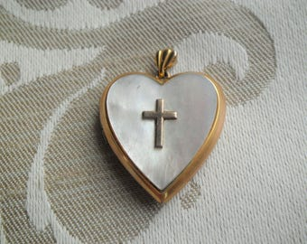 Vintage Gold Filled Mother of Pearl Heart Locket