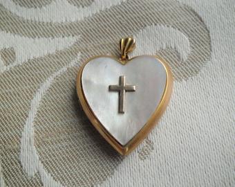 Vintage Gold Filled Mother of Pearl Heart Locket