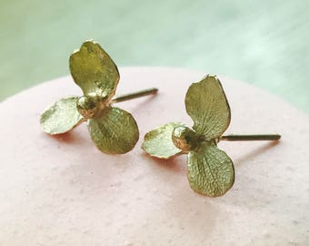 Hydrangea Rose Gold Earrings, Rose Gold Ear Studs, Hydrangea Gold Earrings, 14K Rose gold Flower Earrings - Made to Order